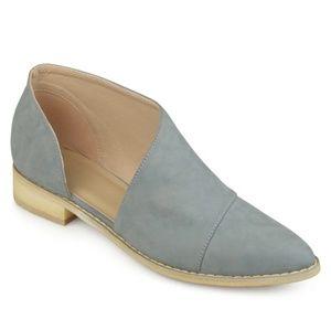 D'orsay Blue faux SuedeAlmond Toe Flats Size 8